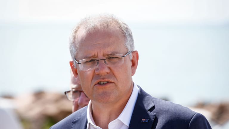 Prime Minister Scott Morrison in Townsville on Thursday as he wound up his Queensland tour.