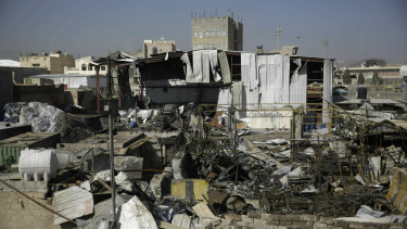 The site of an air strike last month by Saudi-led coalition in Sanaa, Yemen.