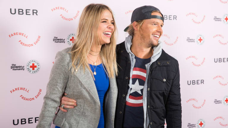 Tara Pavlovic and Sam Cochrane, who got engaged on this year's The Bachelor in Paradise,at the Farewell Fashion Show, hosted by Uber and Australian Red Cross at Paddington Town Hall on Thursday.