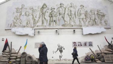 A memorial in Rivne for protesters killed in the 2013-14 anti-government uprising in Ukraine.