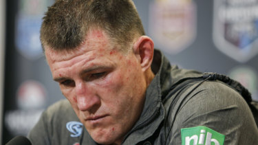 Paul Gallen bears the scars of defeat in game three.