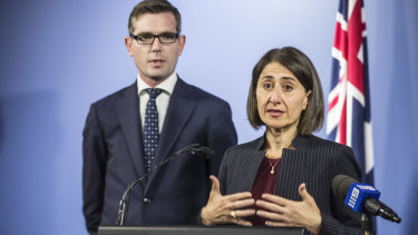 NSW Premier Gladys Berejiklian and Treasurer Dominic Perrottet  announce the $2.6 billion LPI privatisation deal in April 2017.
