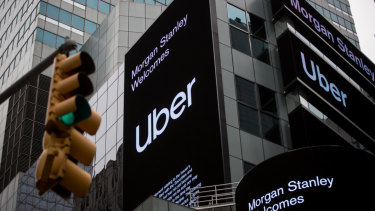Almost there: Uber signage in front of Morgan Stanley headquarters in Times Square, New York.