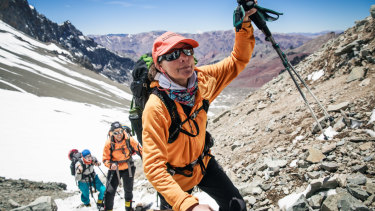 Isabella de la Houssaye on her way to Camp One during the ascent of Aconcagua.