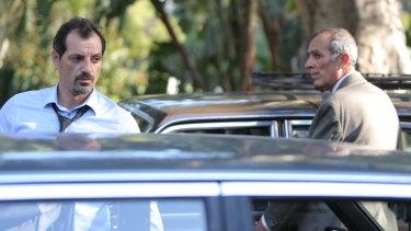 Adel Karam (left), as Toni, and Kamel El Basha as Yasser in Ziad Doueiri's Oscar-nominated film, The Insult.