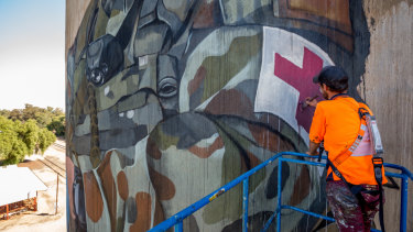 Cam Scale spent 11 days painting a 20m high mural on silos overlooking the tiny town of Devenish, near Benalla.