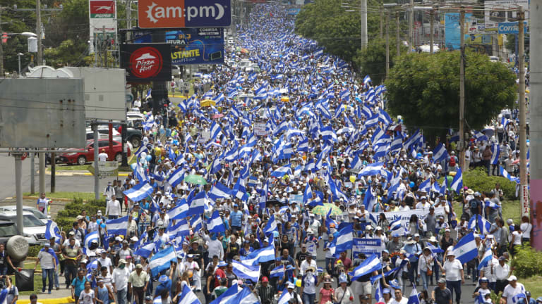 """Hundreds of thousands participate in May in a demonstration called the """"March of the Flowers"""" remembering the children killed during the previous two-months' violence."""
