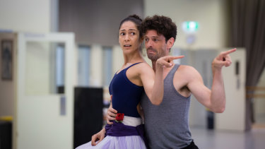 Robyn Hendricks and Killian in rehearsals for 'Alice in Wonderland'.