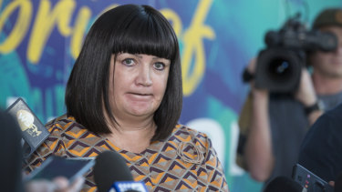 Under pressure: Rugby Australia chief executive Raelene Castle announces the sacking of Israel Folau on Friday.