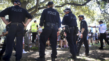 Police make their presence felt at the Field Day music festival in the Domain on New Year's Day.