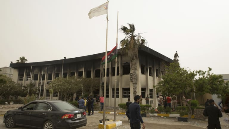 The building of the high national election commission in Tripoli.