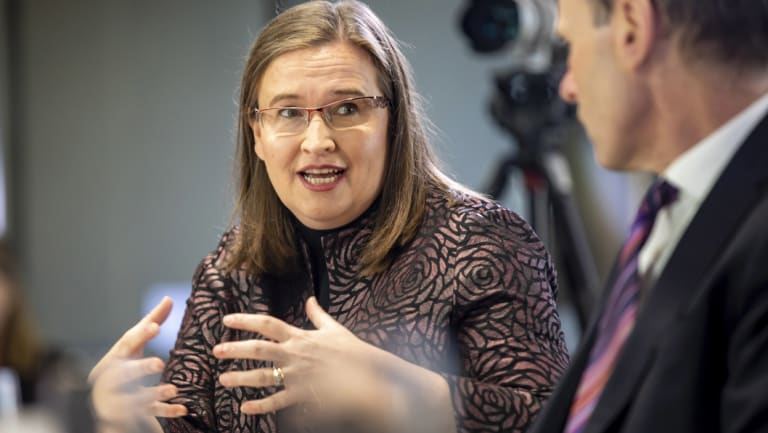 Every industry or organisation has found they have a problem: Australian Sex Discrimination Commissioner Kate Jenkins speaks at a breakfast roundtable with business leaders last month.