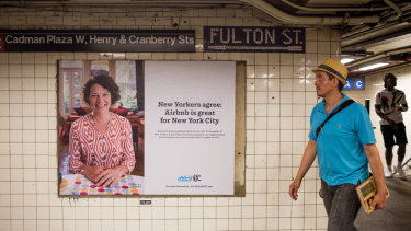 An Airbnb ad at a subway stop in New York City.