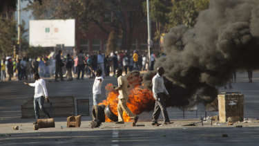 Zimbabweans protest in downtown Harare.