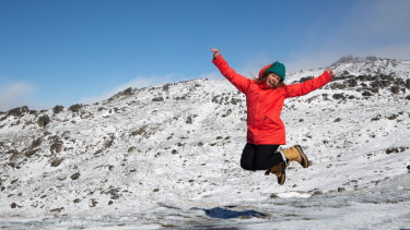 Helaina Gardiner enjoys the snow at Thredbo.