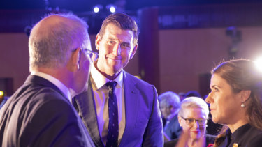 Ben Roberts-Smith speaks with Prime Minister Scott Morrison.