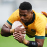 From thin blue line to green and gold for rising Wallabies star
