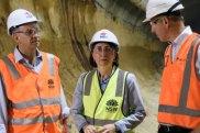 Transport Minister Andrew Constance, Premier Gladys Berejiklian and Transport for NSW Secretary Rodd Staples at the Barangaroo metro construction on Thursday.