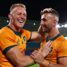 Reece Hodge and Quade Cooper after the Wallabies' victory over the Springboks on Saturday.