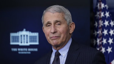 Dr Anthony Fauci, director of the National Institute of Allergy and Infectious Diseases, listens as he speaks with reporters in the James Brady Press Briefing Room at the White House in Washington.