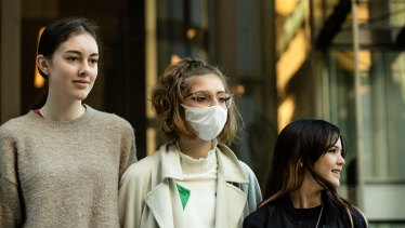 Laura Kirwan, 17, Ava Princi, 17 andIzzy Raj-Seppings, 14, who are among the eight students who sought to have Environment Minister Sussan Ley blocked from approving a coal mine due to climate impacts.