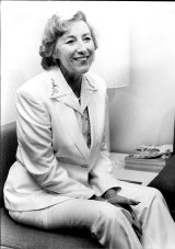 Dame Vera Lynn being interviewed in the press room at the airport after flying into Sydney in 1980.