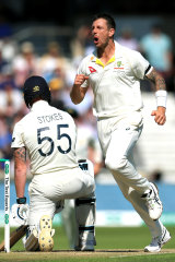 James Pattinson in full flight during the Ashes.