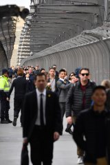 Commuters at Wynyard station were advised to walk across the Harbour Bridge.