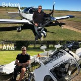 Mr Berg with his South African-designed Sling 4 piston-engine kit plane before and after the crash.