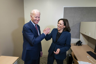 """Let's go win this, @KamalaHarris"" tweeted Joe Biden after he selected her as his vice-presidential running mate."