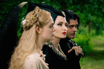 Keeping it in the family: Elle Fanning as Aurora, Angelina Jolie as Maleficent and Sam Riley as the raven Diaval in Maleficent: Mistress of Evil.