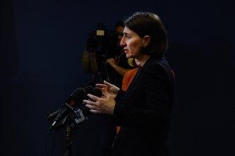 NSW Premier Gladys Berejiklian at Wednesday's COVID-19 update in Sydney.