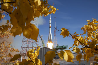 A rocket booster with a Russian spaceship carrying a new crew to the International Space Station (ISS) blasts off at the Baikonur cosmodrome, Kazakhstan, on October 14.