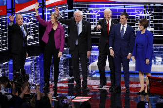 From left: Bloomberg, Warren, Sanders, former vice-president Joe Biden, former South Bend mayor Pete Buttigieg and senator Amy Klobuchar before the debate in Nevada.