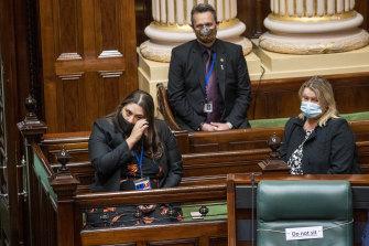 Sheena Watt (left) is sworn in as an MP on Tuesday.