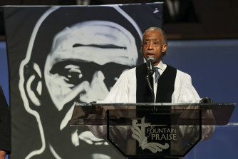 """The Reverend Al Sharpton speaks of """"wickedness in high places"""" during George Floyd's funeral."""