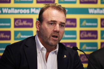 Rugby Australia chief executive Andy Marinos speaks after Cadbury was announced as a major sponsor.