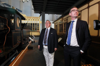 NSW Treasurer Dominic Perrottet and Arts Minister Don Harwin announcing that the Ultimo Powerhouse Museum will continue.