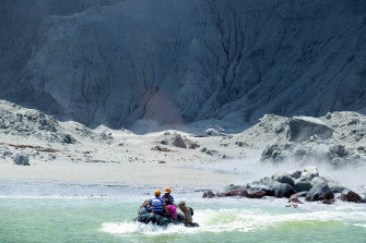 White Island Tour operators rescue people in their role as first responders on Monday.