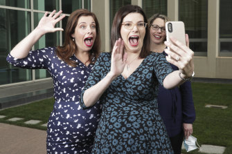 Pregnant federal Labor politicians Anika Wells, Marielle Smith, and Alicia Payne speak with Kate Thwaites, who is also pregnant, via FaceTime during the week of Parliament sitting with video links.