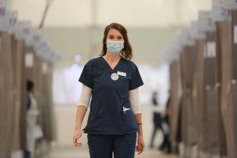 Allison Lamb, nurse unit manager at the Melbourne Showgrounds vaccination hub.