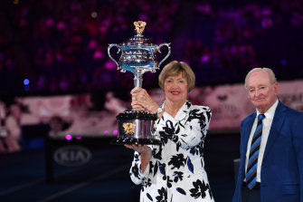 Margaret Court with Rod Laver at the ceremony on Monday night.