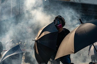 Some protesters wear face masks to protect themselves from tear gas, others are trying to conceal their identity.