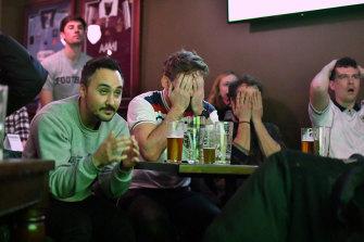 England fans at the Turf Sports Bar despair at their team's loss.
