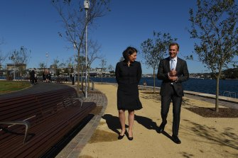 Premier Gladys Berejiklian and Planning and Public Spaces Minister Rob Stokes open the final piece of the foreshore walk at Barangaroo.