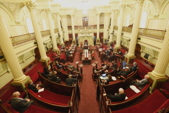 Victoria's upper house MPs sitting in Parliament on Tuesday.