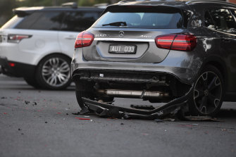 At least four cars were left damaged on Wright Street in Middle Park on Thursday night.
