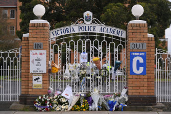 Flowers at the gates of the Victoria Police Academy on Thursday.