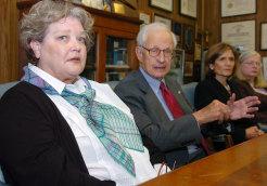 Kathleen Ham at a press conference in Manhattan DA Robert Morgenthau's office.