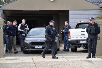 The police raid on CFMMEU official Derek Christopher's house last month.